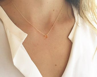 November Birthstone - Citrine Necklace - Gold Citrine Necklace - Dainty Necklace