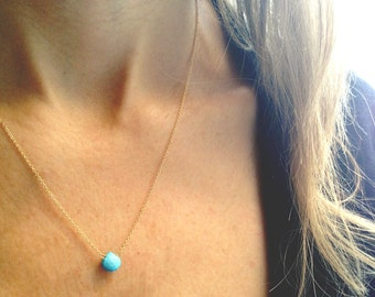 Turquoise Necklace - Turquoise and Gold  - December Birthstone -Turquoise Pendant - Turquoise Jewelry - SImple Gemstone - Dainty Necklace