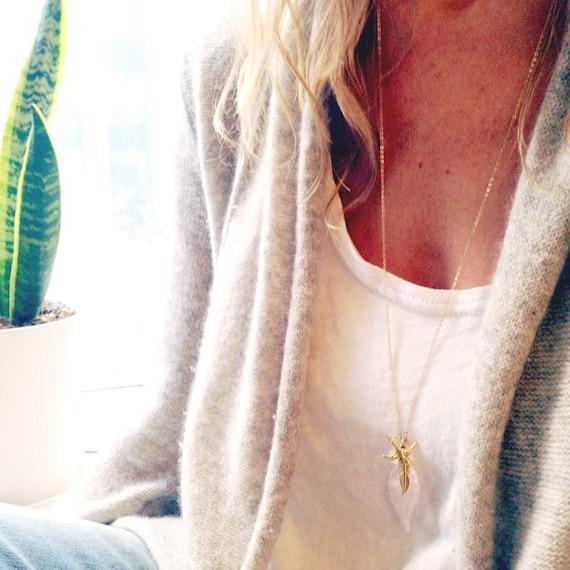 Rose Quartz Necklace - Long Gold Necklace - Leaf Necklace - Dainty Necklace - 14k gold filled - Feather