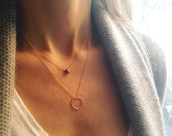 Layered Necklace Set, Garnet Necklace, Birthstone Necklace, January Birthstone, Layered Necklace,  Dainty Necklace, Circle Necklace