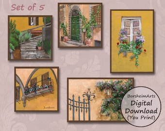 Set of 5 miniature paintings of Tuscany, Italy, as digital printable download for small landscape wall art decor prints