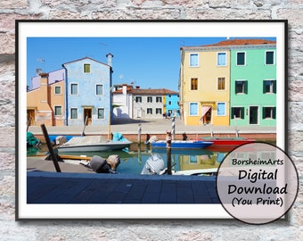 Venice photography colorful buildings canal boats printable art Murano Italy travel photo