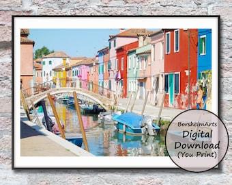 Murano Venice bridge canal boat photography printable wall art, Italy travel photo download
