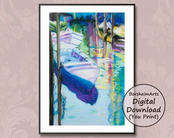 Venetian boats colorful canal waterway reflections vibrant nautical pastel painting print, Venice Italy art printable download boat artwork