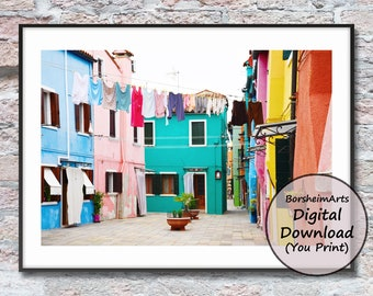Burano Italy hanging laundry colorful buildings clothesline photograph printable wall art