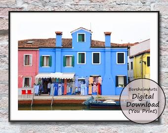 Blue wall art printable Burano Venice Italy photograph