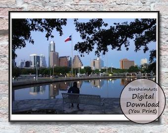Austin Texas skyline photo Auditorium Shores urban photography digital download for prints, office wall art gift BorsheimArts