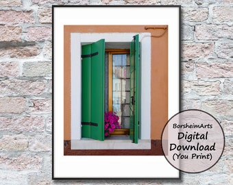 Venetian window photograph Venice Murano Italy printable rustic 16x20 wall art