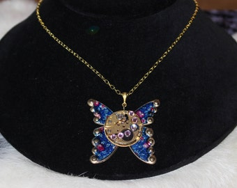 Steampunk Butterfly Necklace with Blue and Gold Accents   SP 18-2