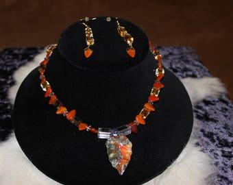 Necklace Orange and Gray Multi Color Leaf Focal 07-10