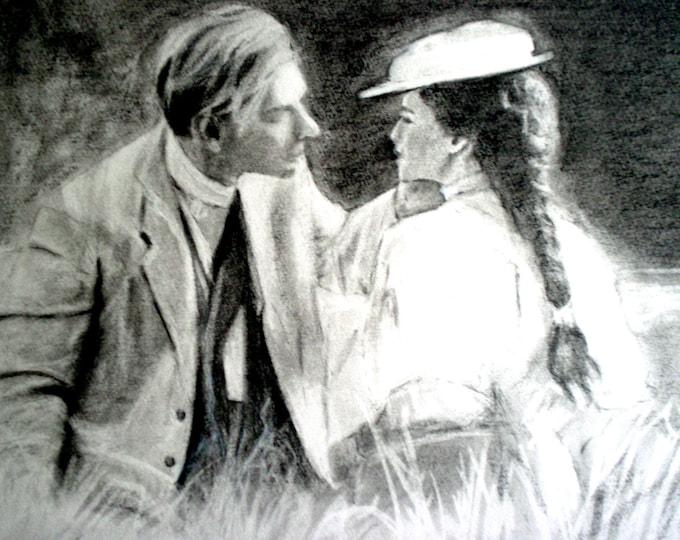 Edwardian Couple- Original Drawing- Ceramic Tile