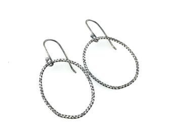 roper earrings (small) : sterling silver, organic shapes, texture, rustic, industrial