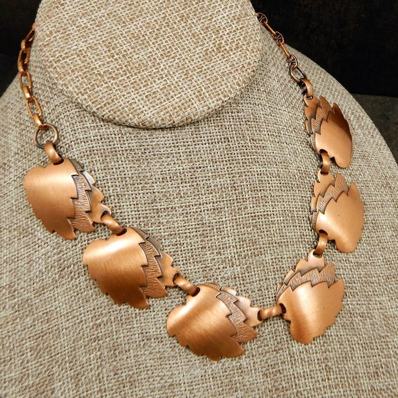 Vintage Copper Leaf Collar Style Necklace