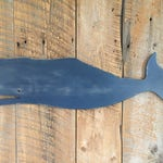 "LARGE 42"" Navy Blue Wooden Whale Wall Art Indoor Ocean Beach Decoration"