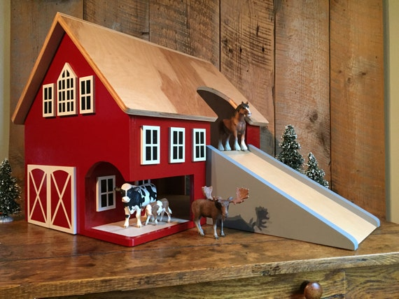 Large Kids Hardwood Toy Barn Etsy