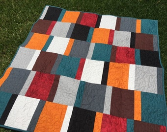 Sale! Color Blocked Gender Neutral Colorful Pieced Lap Quilt