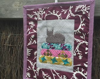 Little Helper Cat on Blue Fabric Mini Quilt