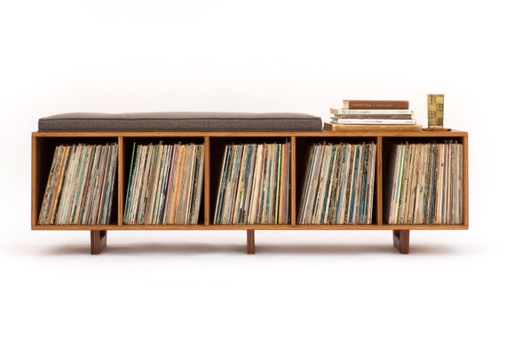 Superb Vinyl Lp Storage Bench Lo Fi Edition With Mid Century Modern Stylings Gmtry Best Dining Table And Chair Ideas Images Gmtryco