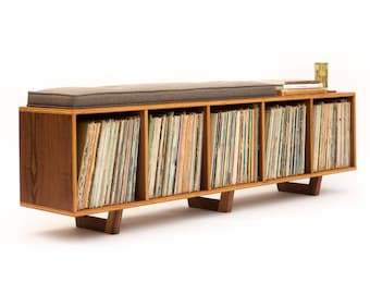 Vinyl LP Storage Bench Lo-Fi edition with Mid Century Modern Stylings