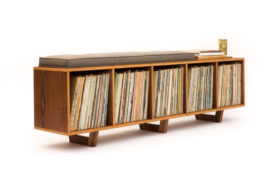 Terrific Vinyl Lp Storage Bench Lo Fi Edition With Mid Century Modern Stylings Gmtry Best Dining Table And Chair Ideas Images Gmtryco