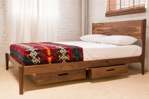 Classic Modern Bed with Storage (Mid Century Danish Modern Style Bed)