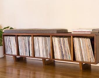Vinyl LP Storage bench with Mid Century Modern Stylings