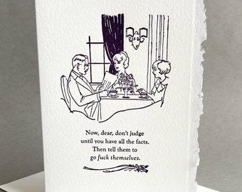 Sympathy Encouragement What A Cunt Letterpress Card Funny Adult Humor