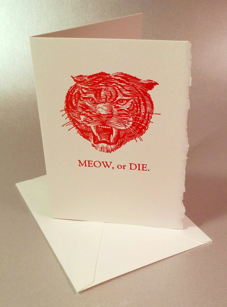 Meow Funny Letterpress Card or Die Ferocious Tiger