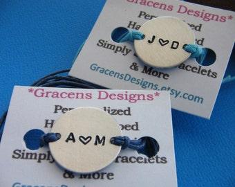 Boyfriend Girlfriend bracelets - Couples bracelet set - His and Her - Custom Bracelets - Couples Gift - Metal Bracelet - Cord Bracelets