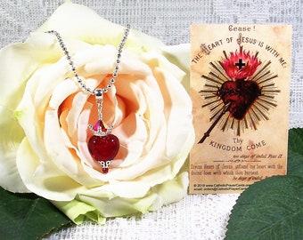 "Sacred Heart Necklace - Swarovski Crystal Necklace - 22"" (Adjustable) Pendant Necklace - Catholic gift"