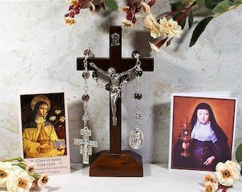 St. Clare of Assisi Unbreakable Catholic RELIC Chaplet - Patron of Communications, Laundry/Needle Workers & Eye Health - Catholic Rosary