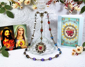 Two Hearts Heirloom Traditional Unbreakable Chaplet - Sacred Heart of Jesus and Immaculate Heart of Mary - Bronze Catholic Rosaries