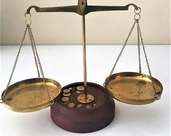 Brass Jewelry Scales, Vintage Portable Scales and Weights, Pharmacy Scales