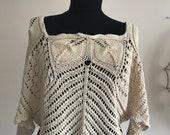 Vintage Handmade Shawl Poncho Wrap Crocheted shoulder Cape Boho Wrap Festival Wear Gift for Her Wool Poncho