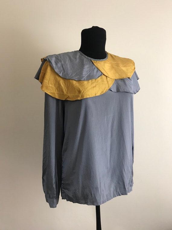 1970s Vintage Silk Blouse with Unique Collar / Wom