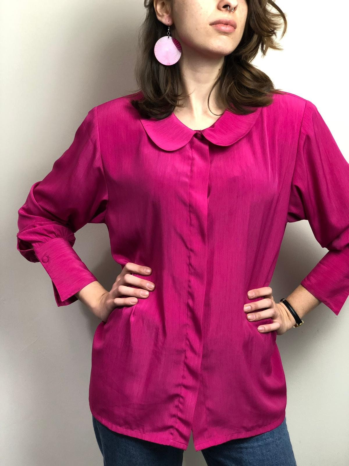 229bffba7 Vintage Hot Pink Shirt with Shoulder Pads / Long Sleeve | Etsy