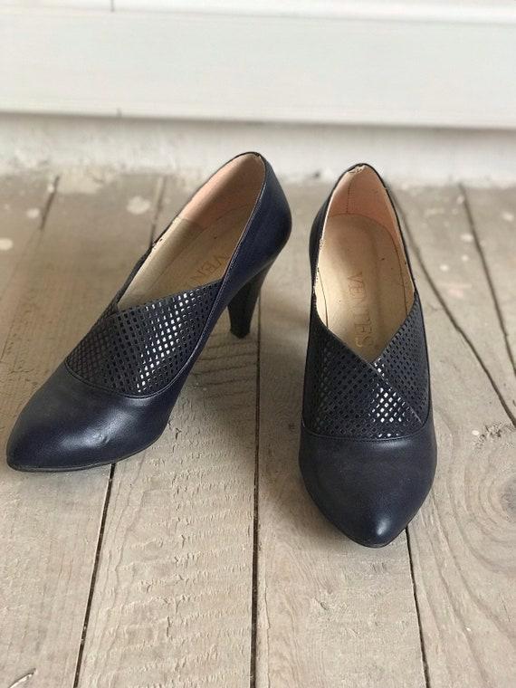 des années 80 vintage en cuir bleu marine talons/vintage chaussures chaussures chaussures / Designer chaussures / haut talons / taille UE W39 | Magasiner  5fe678