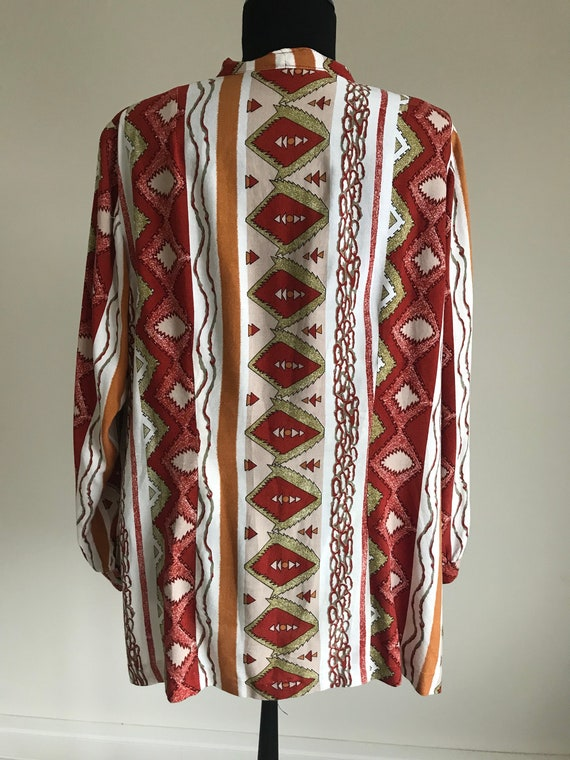 Vintage 70s Ethnic Print Pussy Bow Shirt / Long S… - image 3