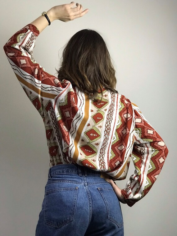 Vintage 70s Ethnic Print Pussy Bow Shirt / Long S… - image 5