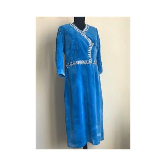 1970s Vintage Silk Velvet Midi Cocktail Dress / Ve