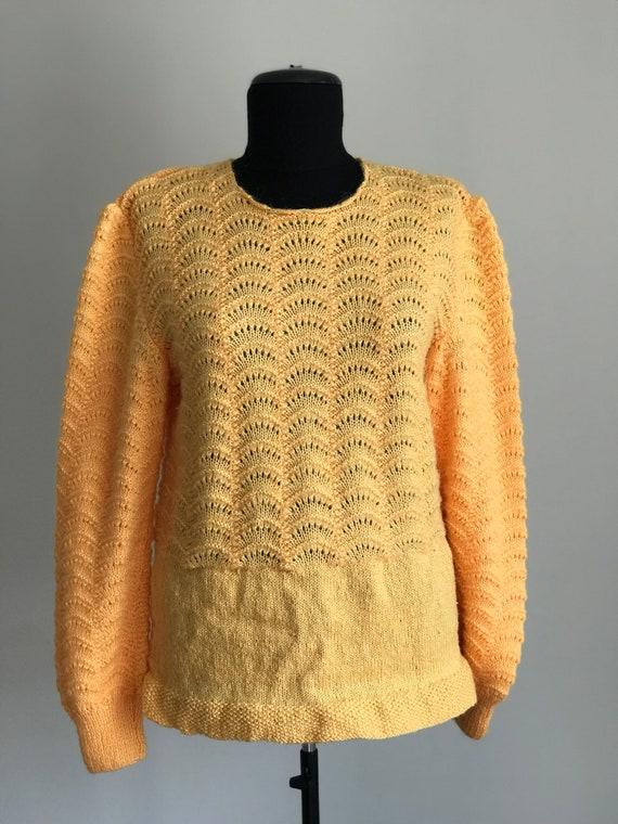 Vintage 80s Handmade Bright Yellow Cardigan  Long Sleeve Cardigan  80s Cardigan  Women\u2019s Sweater