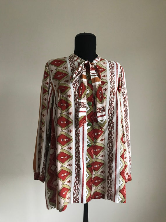 Vintage 70s Ethnic Print Pussy Bow Shirt / Long S… - image 2