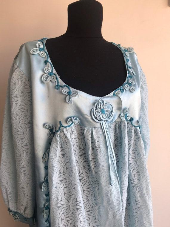 1970s Vintage Baby Blue Robe / Shabby Chic Soft Bl