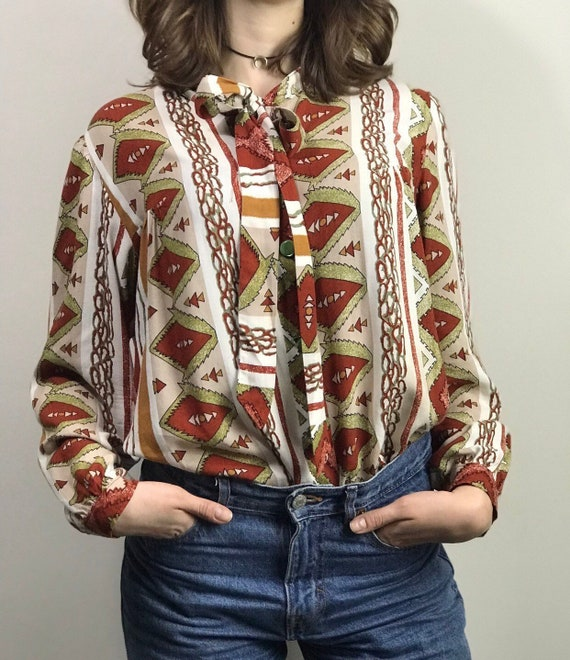 Vintage 70s Ethnic Print Pussy Bow Shirt / Long Sl