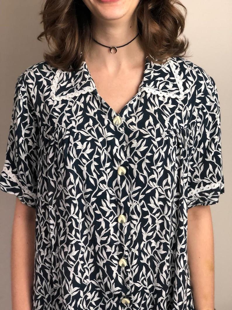 1980s Vintage Short Sleeve Handmade Cotton Shirt  Women/'s Vintage Blouse  Women/'s Casual Blouse