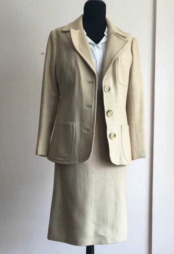 Vintage Wool Skirt Suit / Two Piece Suit / 70s Ski