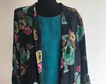Chiffon Shirt/Tunic / 90s Fashion / Swimsuit Coverup / Beach Top