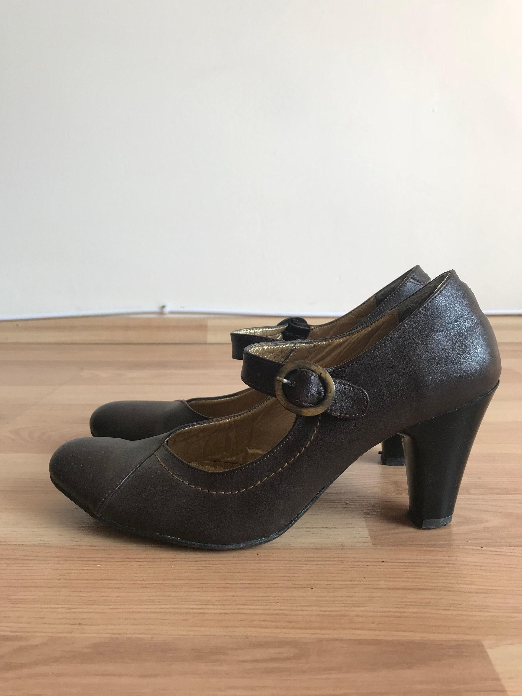 vintage lanière / de cuir / chaussures rouges / lanière  chaussures / taille: ue w 004566
