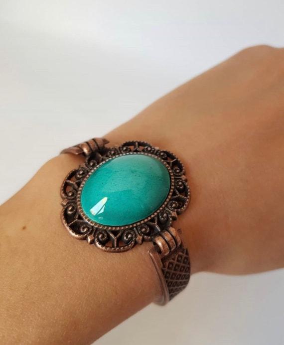1980s Vintage Copper Bracelet with Turquoise Color Porcelain Statement Piece  Women\u2019s Bracelet  Gift for Her