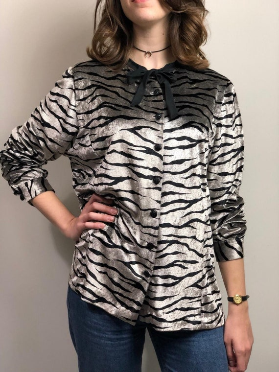 1980s Vintage Zebra Print Velvety Blouse / Animal